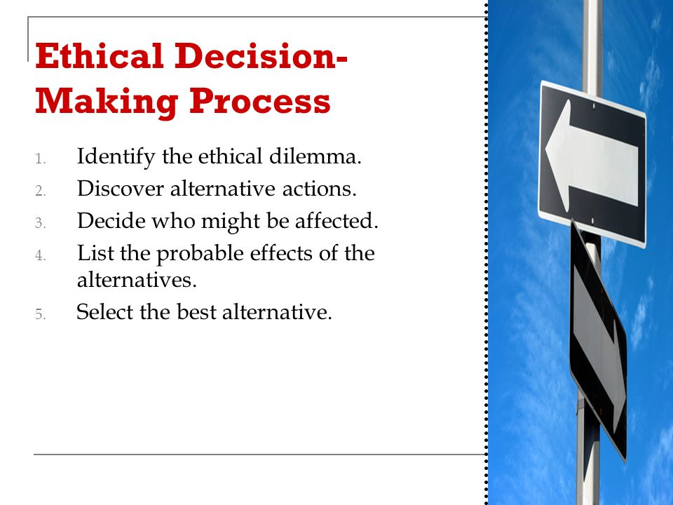Ethical Decision- Making Process 1. Identify the ethical dilemma.