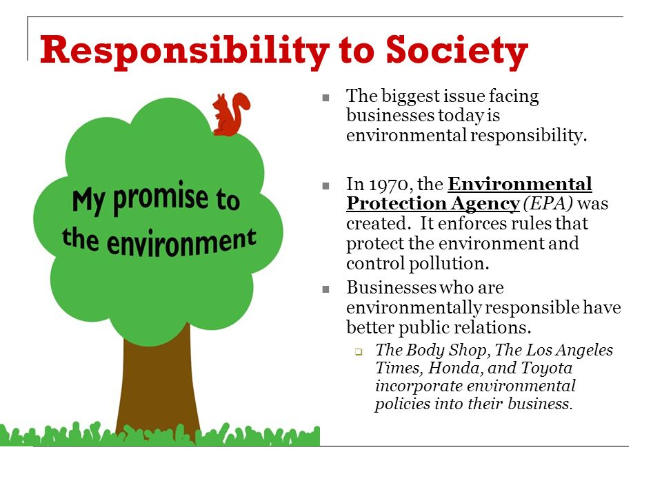 Responsibility to Society The biggest issue facing businesses today is environmental responsibility.