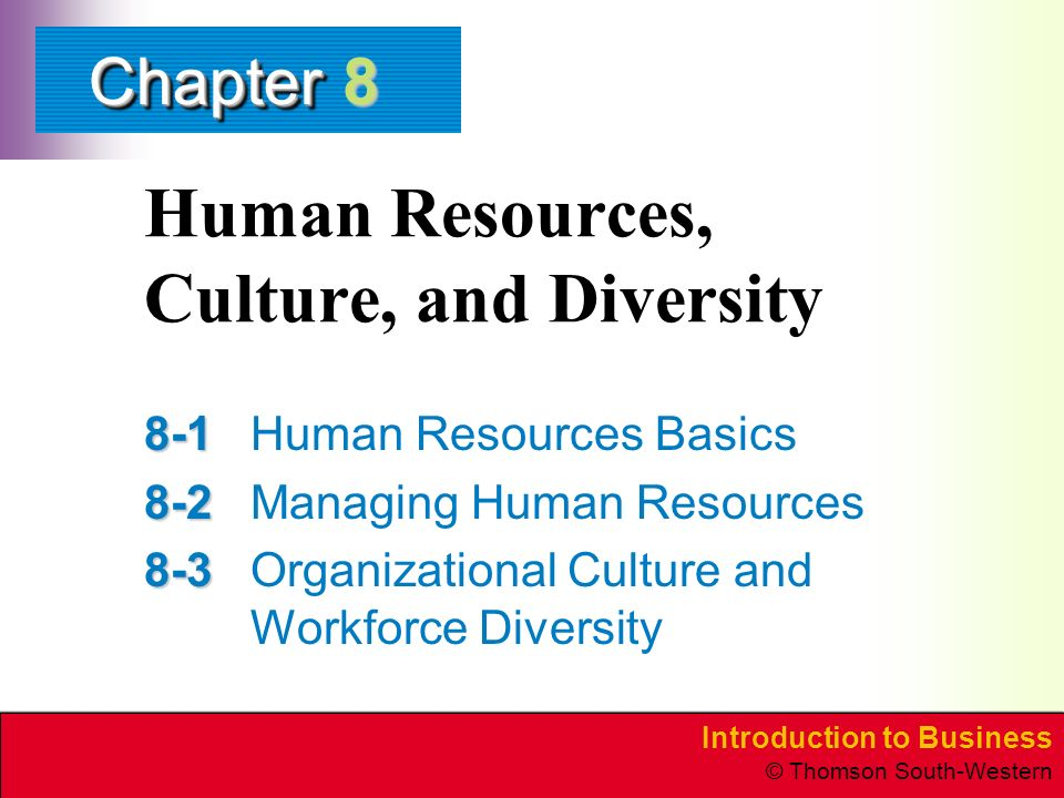 Introduction to Business © Thomson South-Western ChapterChapter Human Resources, Culture, and Diversity Human Resources Basics Managing Human Resources Organizational Culture and Workforce Diversity 8