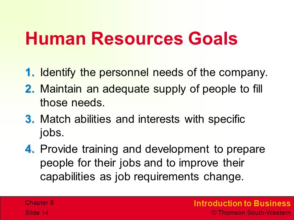 Introduction to Business © Thomson South-Western Chapter 8 Slide 14 Human Resources Goals 1.