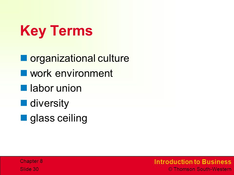 Introduction to Business © Thomson South-Western Chapter 8 Slide 30 Key Terms organizational culture work environment labor union diversity glass ceiling