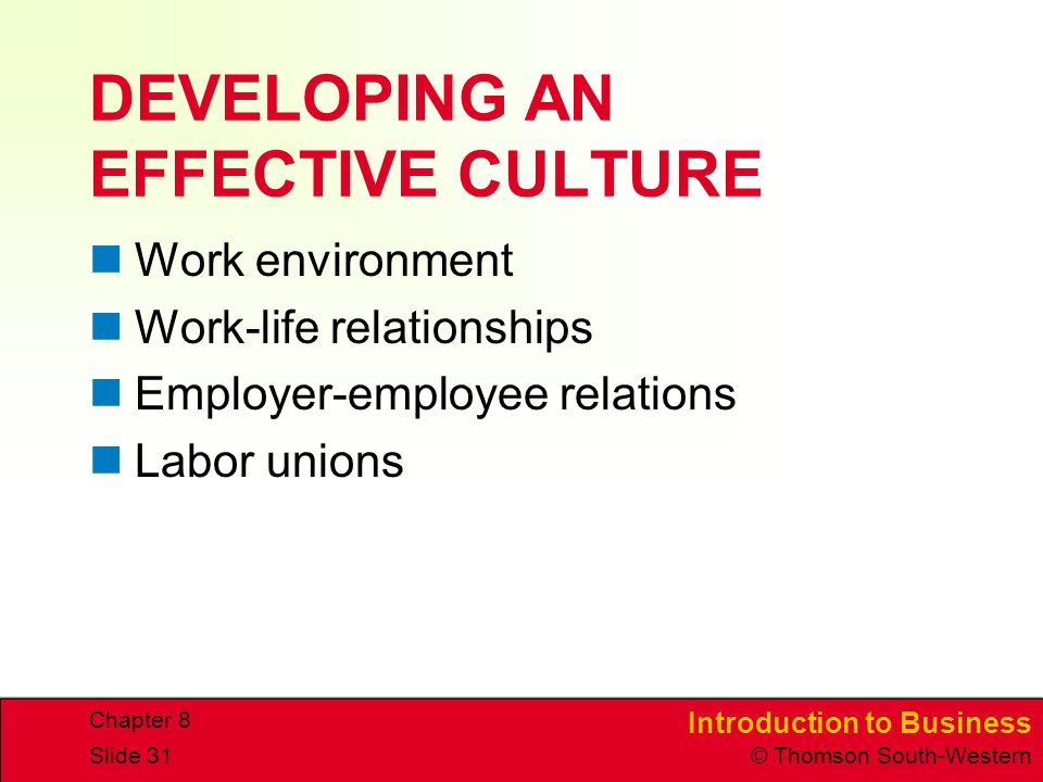 Introduction to Business © Thomson South-Western Chapter 8 Slide 31 DEVELOPING AN EFFECTIVE CULTURE Work environment Work-life relationships Employer-employee relations Labor unions