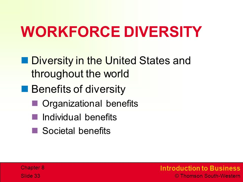 Introduction to Business © Thomson South-Western Chapter 8 Slide 33 WORKFORCE DIVERSITY Diversity in the United States and throughout the world Benefits of diversity Organizational benefits Individual benefits Societal benefits