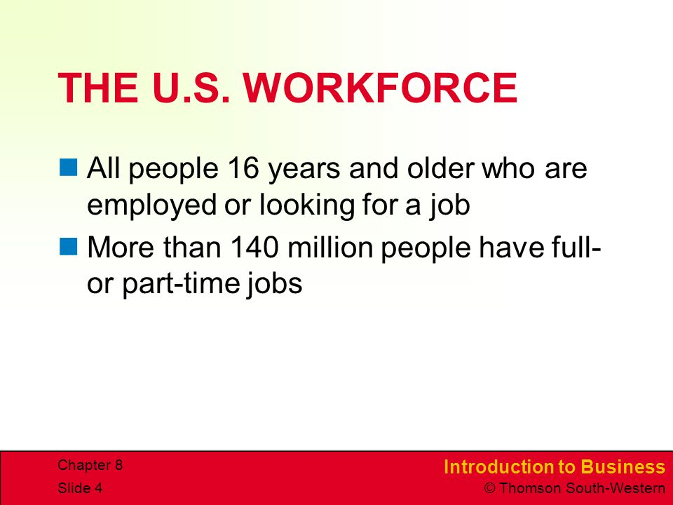 Introduction to Business © Thomson South-Western Chapter 8 Slide 4 THE U.S.