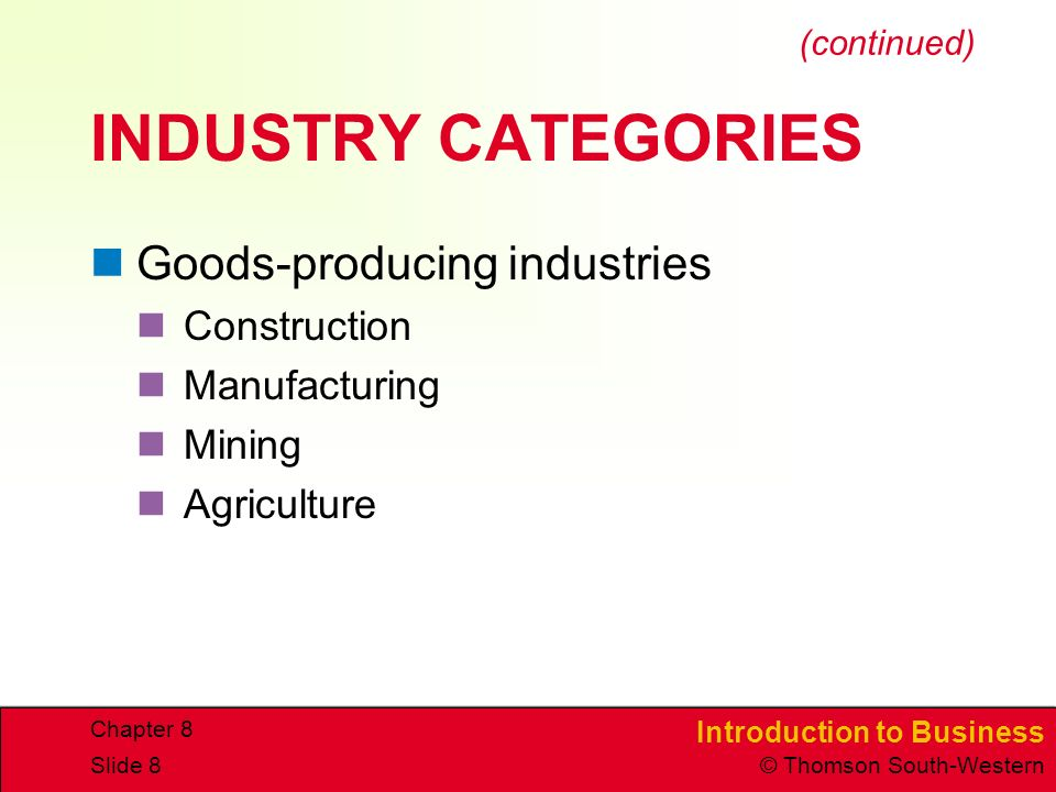 Introduction to Business © Thomson South-Western Chapter 8 Slide 8 INDUSTRY CATEGORIES Goods-producing industries Construction Manufacturing Mining Agriculture (continued)