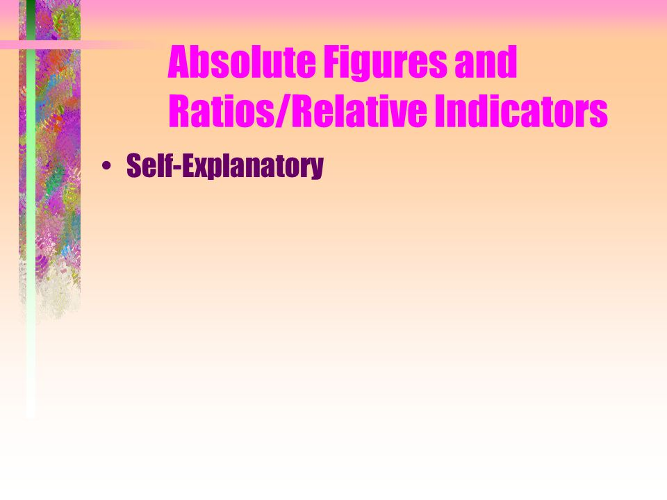 Absolute Figures and Ratios/Relative Indicators Self-Explanatory