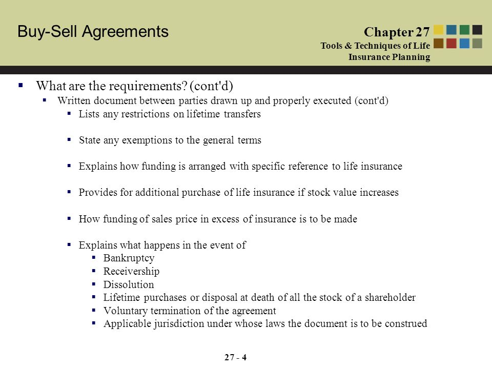 Buy Sell Agreements Chapter 27 Tools Techniques Of Life Insurance