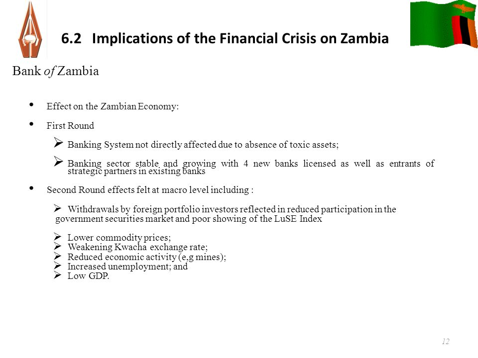 6 2 Implications Of The Financial Crisis On Zambia Effect Zambian Economy First Round