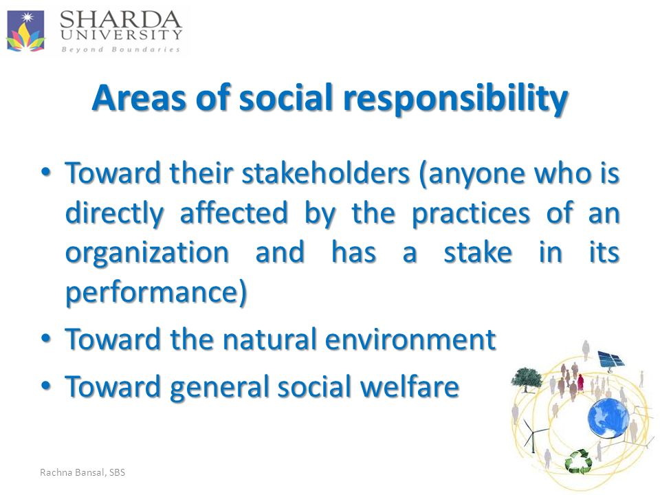 Areas of social responsibility Toward their stakeholders (anyone who is directly affected by the practices of an organization and has a stake in its performance) Toward their stakeholders (anyone who is directly affected by the practices of an organization and has a stake in its performance) Toward the natural environment Toward the natural environment Toward general social welfare Toward general social welfare Rachna Bansal, SBS3