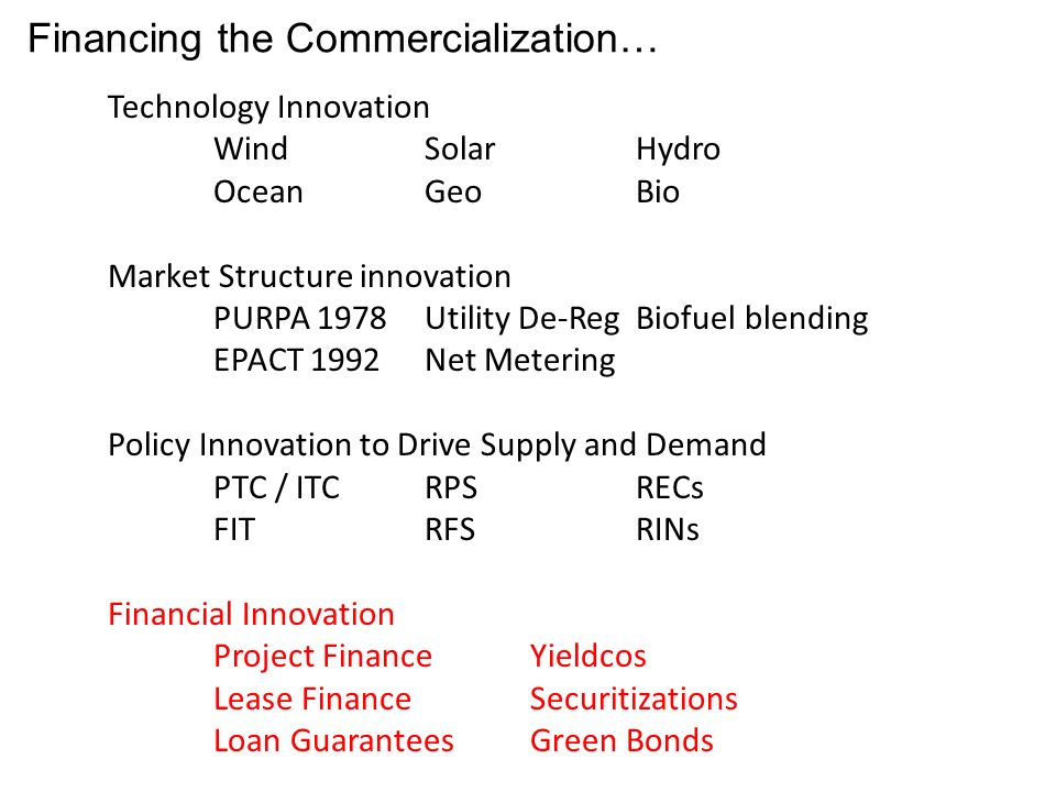 Financing the Commercialization… Technology Innovation WindSolarHydro OceanGeoBio Market Structure innovation PURPA 1978Utility De-RegBiofuel blending EPACT 1992Net Metering Policy Innovation to Drive Supply and Demand PTC / ITCRPSRECs FITRFSRINs Financial Innovation Project FinanceYieldcos Lease FinanceSecuritizations Loan GuaranteesGreen Bonds