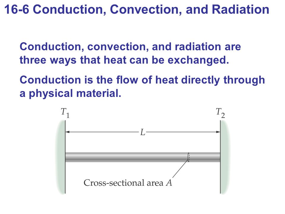 16-6 Conduction, Convection, and Radiation Conduction, convection, and radiation are three ways that heat can be exchanged.