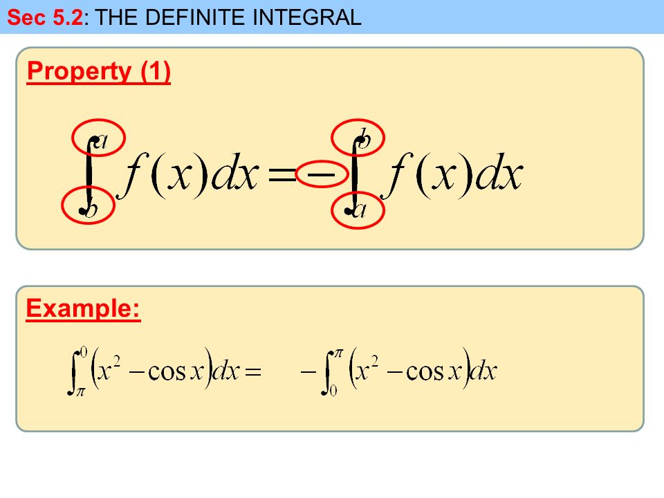 Property (1) Sec 5.2: THE DEFINITE INTEGRAL Example: