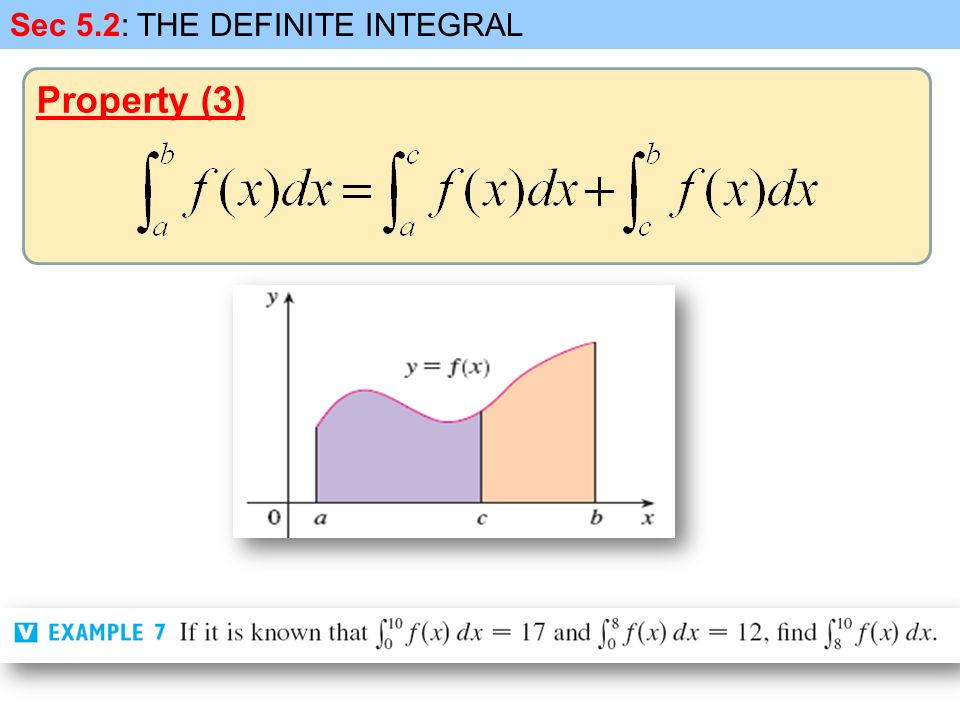Sec 5.2: THE DEFINITE INTEGRAL Property (3)