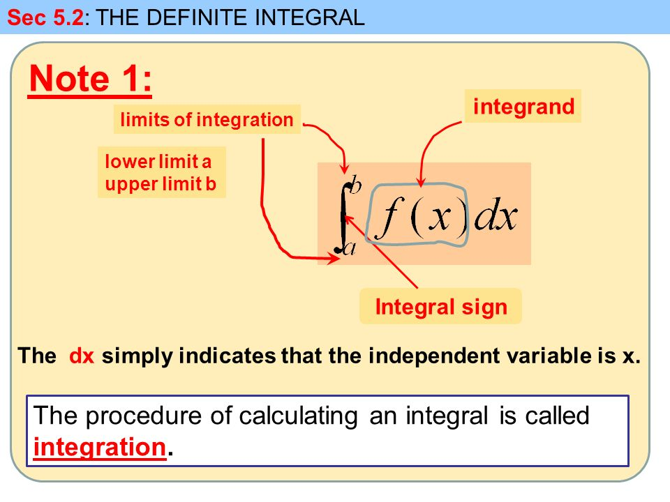 Note 1: Sec 5.2: THE DEFINITE INTEGRAL Integral sign limits of integration lower limit a upper limit b integrand The procedure of calculating an integral is called integration.