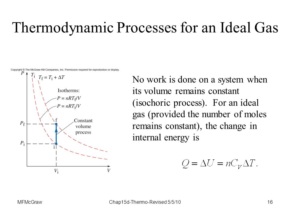 MFMcGrawChap15d-Thermo-Revised 5/5/1016 Thermodynamic Processes for an Ideal Gas No work is done on a system when its volume remains constant (isochoric process).