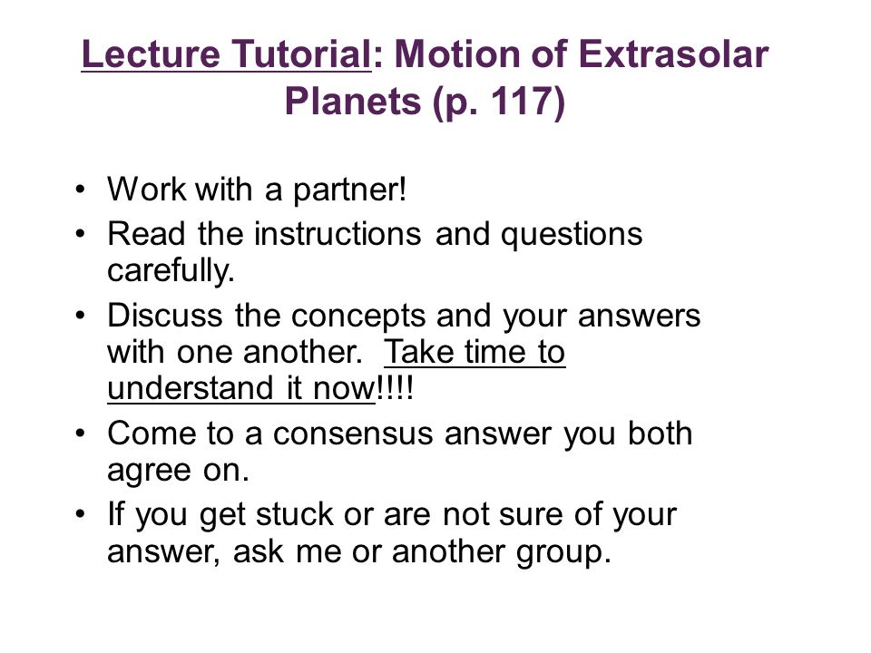 Lecture Tutorial: Motion of Extrasolar Planets (p.