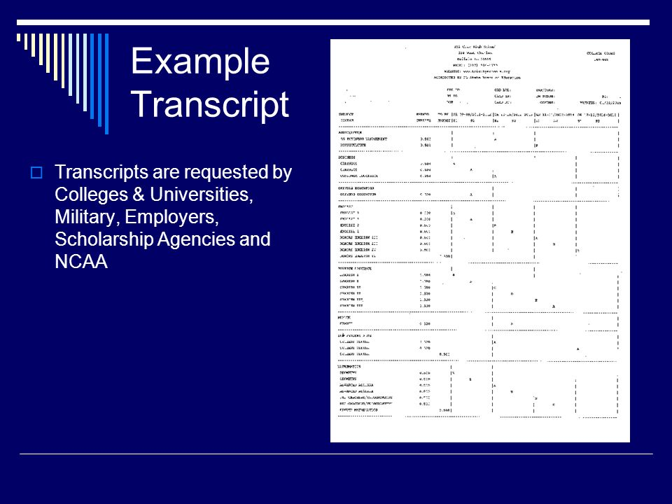 Example Transcript  Transcripts are requested by Colleges & Universities, Military, Employers, Scholarship Agencies and NCAA