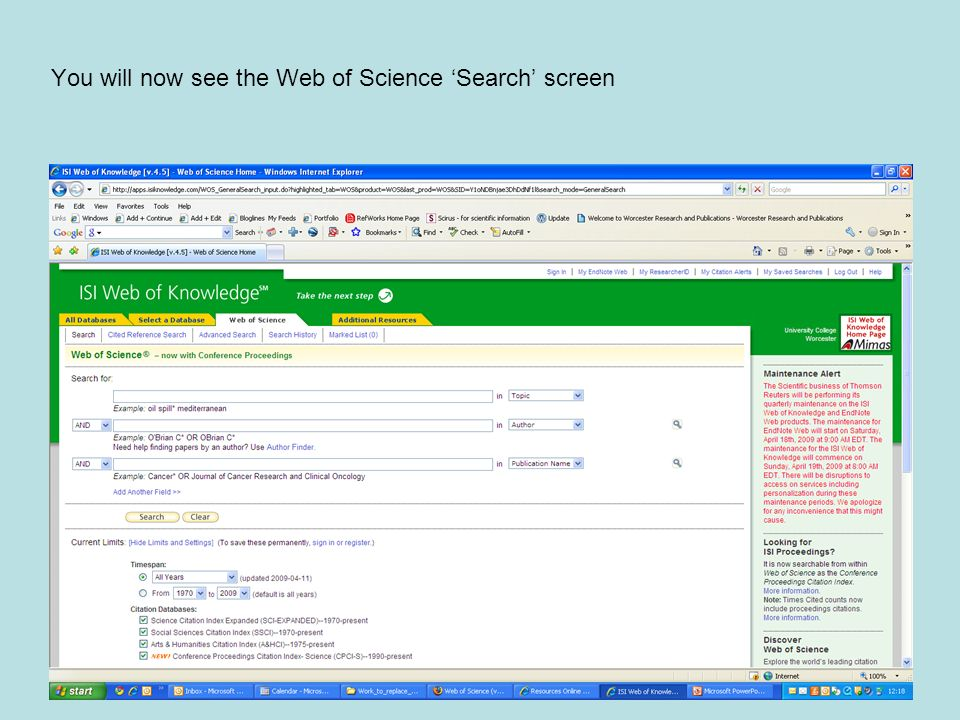 You will now see the Web of Science 'Search' screen