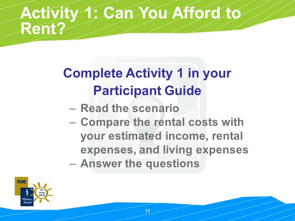 11 Activity 1: Can You Afford to Rent.
