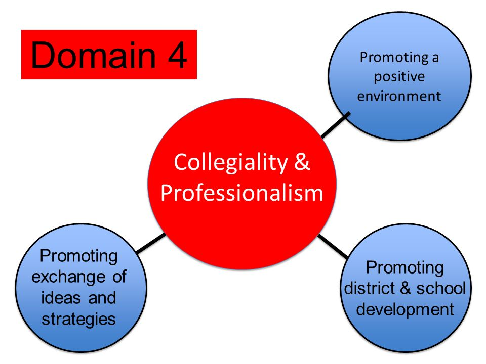 Promoting a positive environment Promoting exchange of ideas and strategies Collegiality & Professionalism Promoting district & school development Domain 4