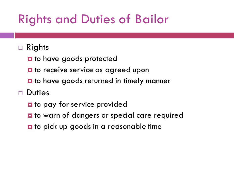 rights of bailor