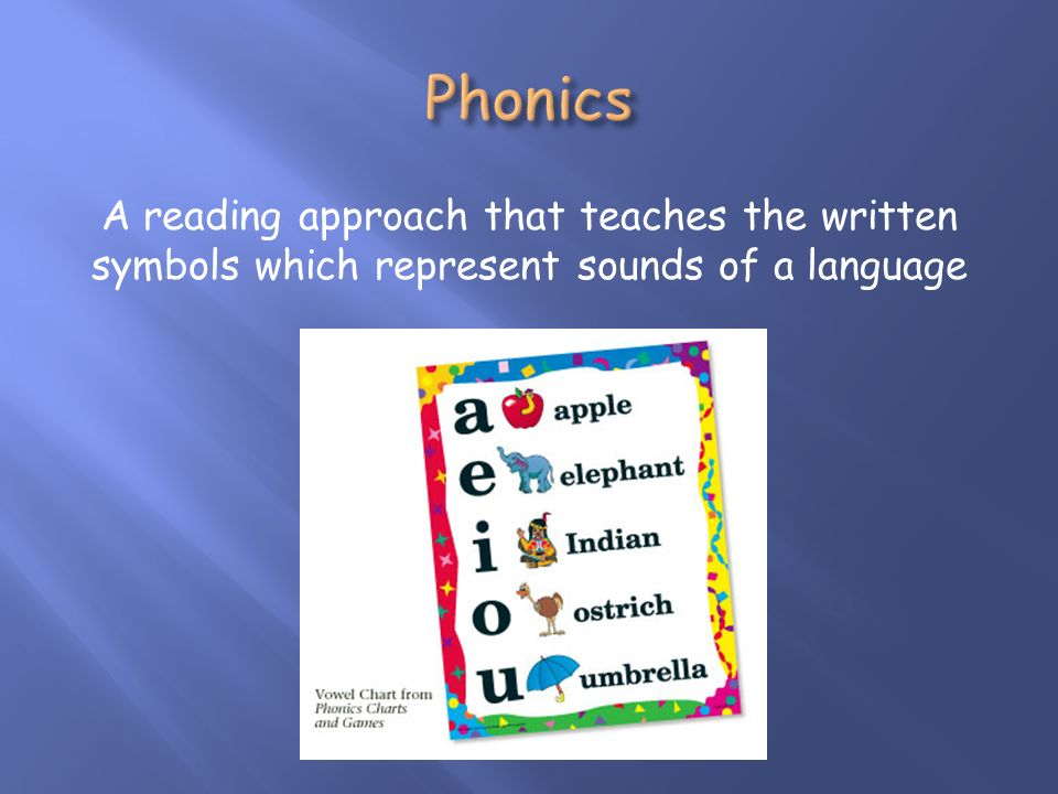 A reading approach that teaches the written symbols which represent sounds of a language
