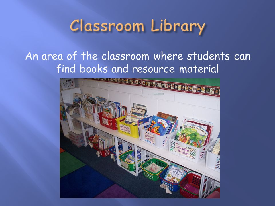 An area of the classroom where students can find books and resource material