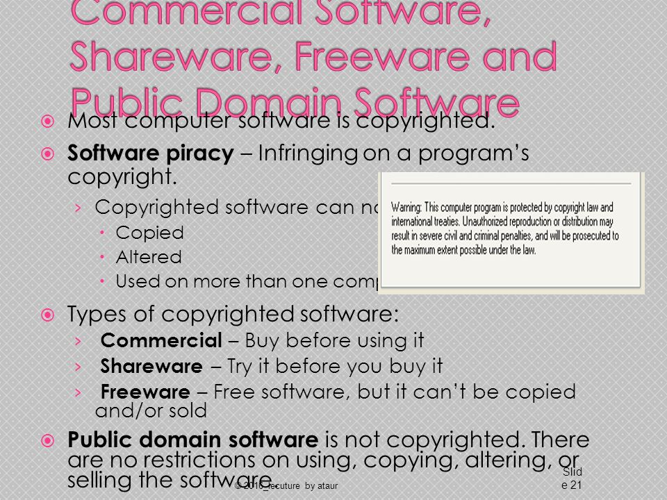  Most computer software is copyrighted.  Software piracy – Infringing on a program's copyright.