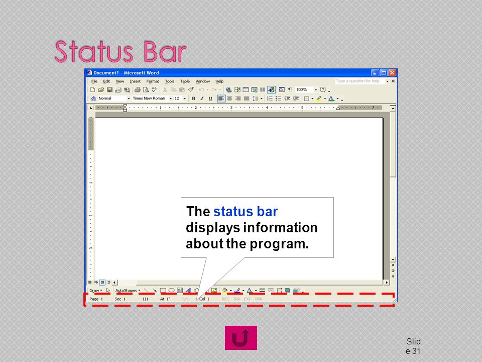 © 2016_lecuture by ataur Slid e 31 The status bar displays information about the program.