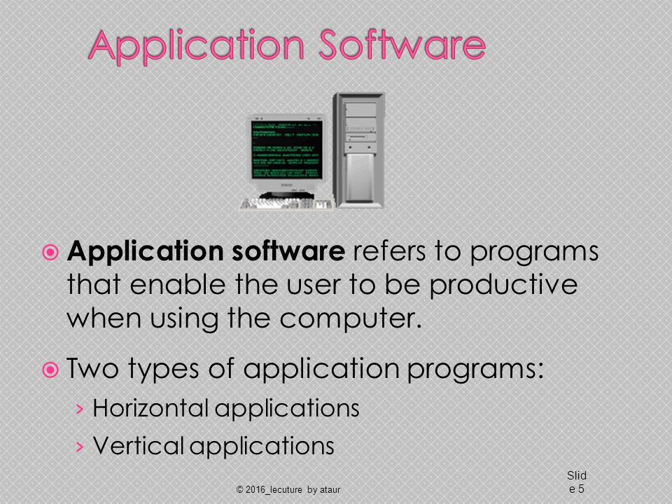 Application software refers to programs that enable the user to be productive when using the computer.
