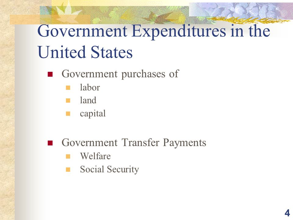 4 Government Expenditures in the United States Government purchases of labor land capital Government Transfer Payments Welfare Social Security