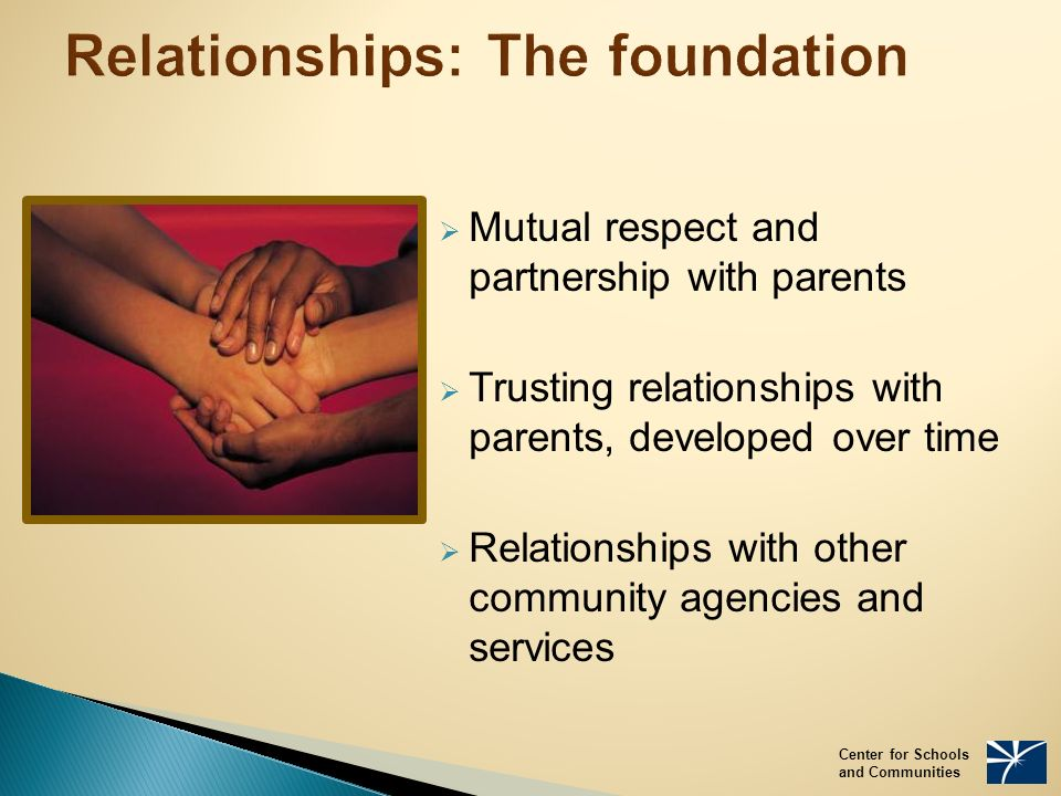 Relationships: The foundation  Mutual respect and partnership with parents  Trusting relationships with parents, developed over time  Relationships with other community agencies and services