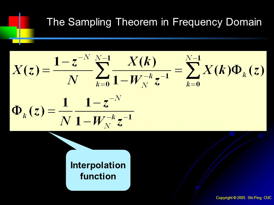 Copyright © Shi Ping CUC The Sampling Theorem in Frequency Domain Interpolation function