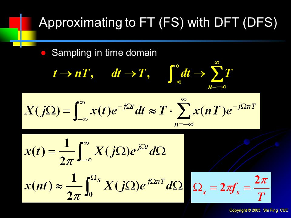 Copyright © Shi Ping CUC Sampling in time domain Approximating to FT (FS) with DFT (DFS)
