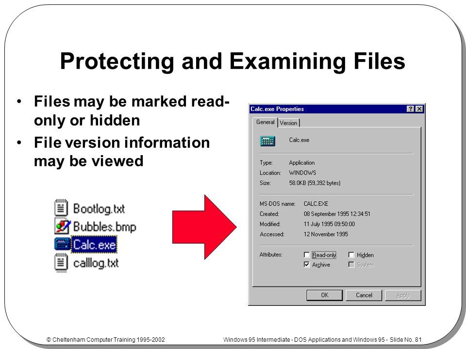 Windows 95 Intermediate - DOS Applications and Windows 95 - Slide No