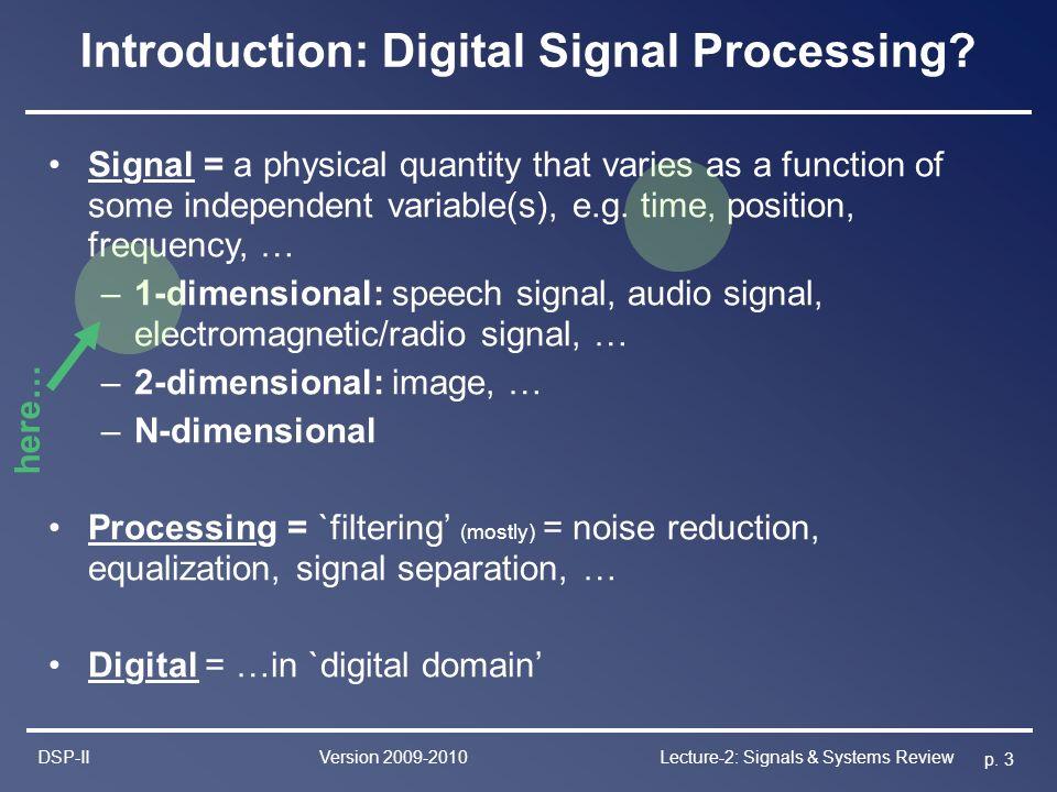 Lecture 2 Signals & Systems Review Marc Moonen & Toon van