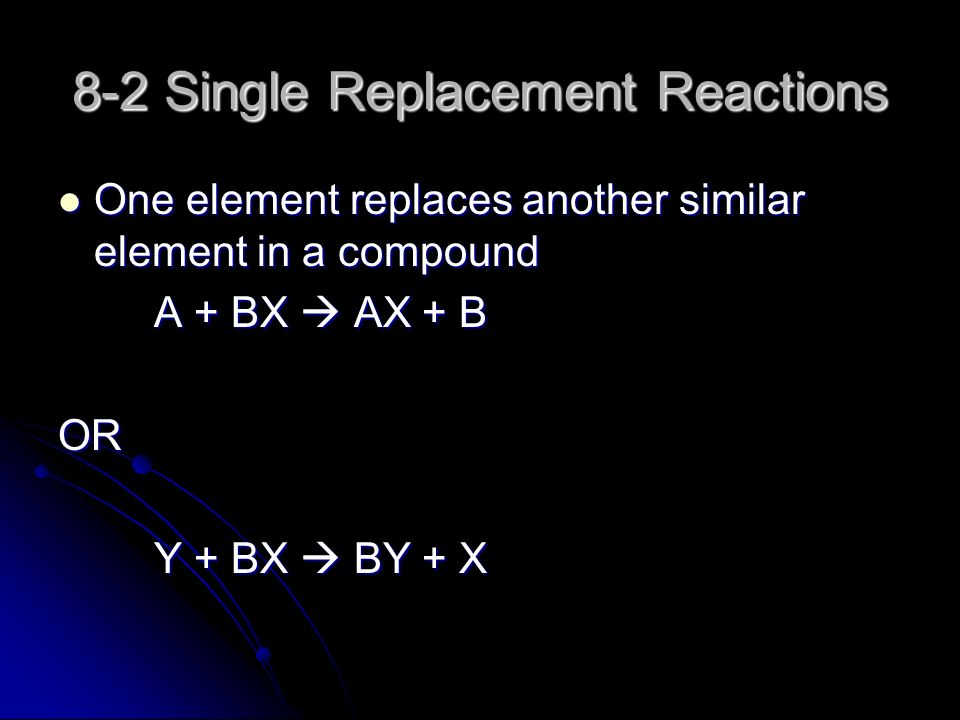 8-2 Single Replacement Reactions One element replaces another similar element in a compound One element replaces another similar element in a compound A + BX  AX + B OR Y + BX  BY + X
