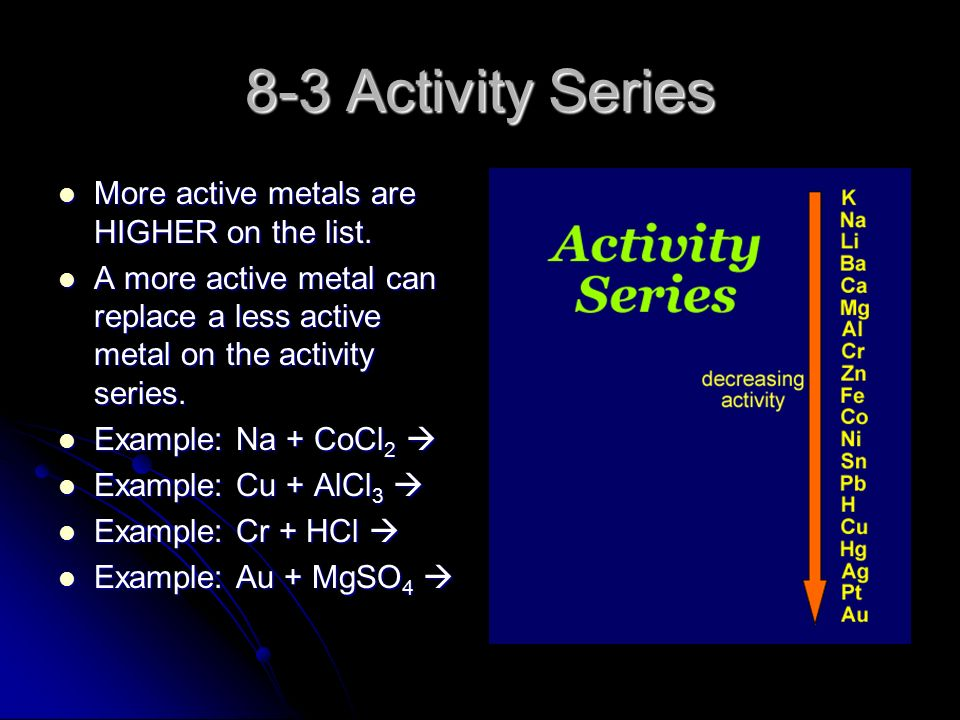 8-3 Activity Series More active metals are HIGHER on the list.