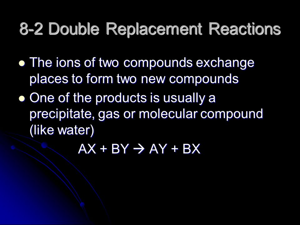 8-2 Double Replacement Reactions The ions of two compounds exchange places to form two new compounds The ions of two compounds exchange places to form two new compounds One of the products is usually a precipitate, gas or molecular compound (like water) One of the products is usually a precipitate, gas or molecular compound (like water) AX + BY  AY + BX