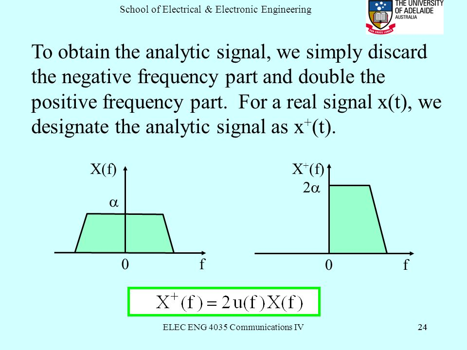 ELEC ENG 4035 Communications IV24 School of Electrical & Electronic Engineering 24 To obtain the analytic signal, we simply discard the negative frequency part and double the positive frequency part.