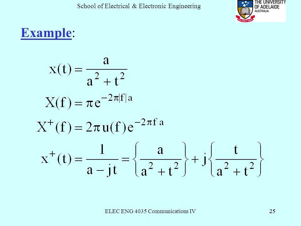 ELEC ENG 4035 Communications IV25 School of Electrical & Electronic Engineering 25 Example:
