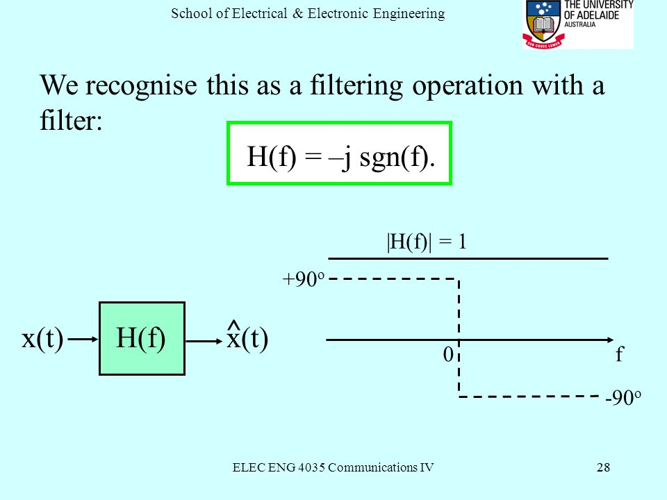 ELEC ENG 4035 Communications IV28 School of Electrical & Electronic Engineering 28 We recognise this as a filtering operation with a filter: H(f) = –j sgn(f).