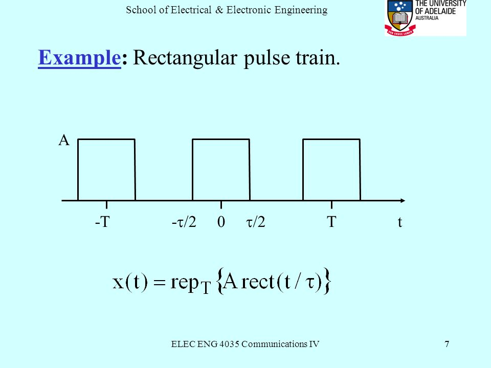 ELEC ENG 4035 Communications IV7 School of Electrical & Electronic Engineering 7 Example: Rectangular pulse train.