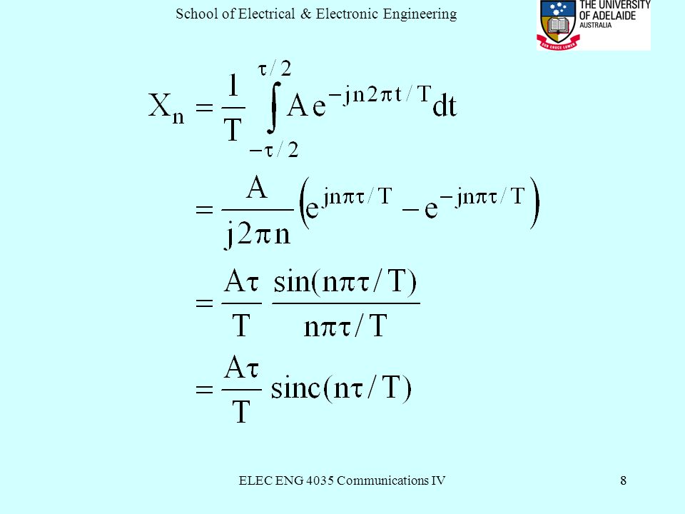 ELEC ENG 4035 Communications IV8 School of Electrical & Electronic Engineering 8