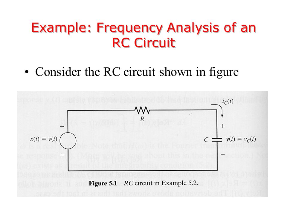 Consider the RC circuit shown in figure Example: Frequency Analysis of an RC Circuit