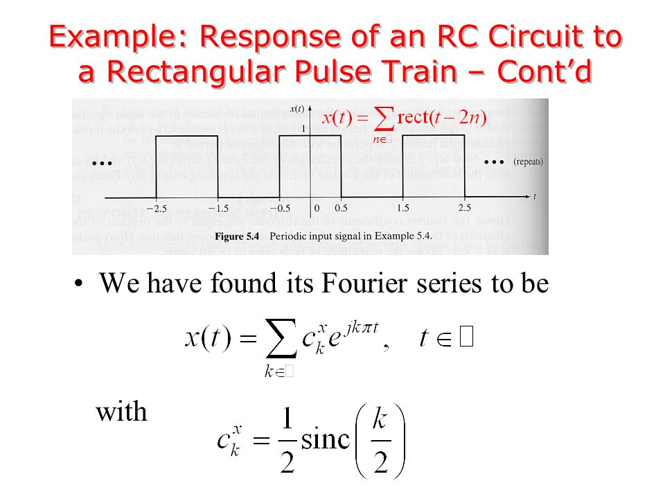 We have found its Fourier series to be with Example: Response of an RC Circuit to a Rectangular Pulse Train – Cont'd