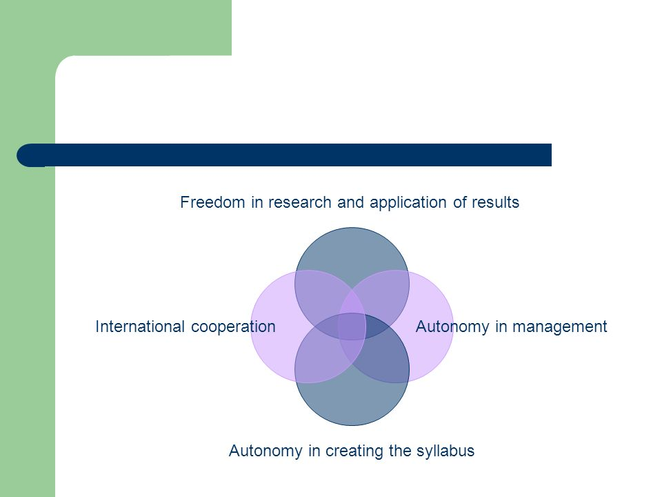 Freedom in research and application of results Autonomy in management Autonomy in creating the syllabus International cooperation