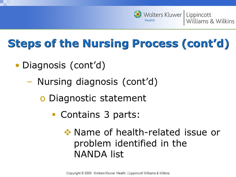 Copyright © 2009 Wolters Kluwer Health | Lippincott Williams & Wilkins Diagnosis (cont'd) –Nursing diagnosis (cont'd) oDiagnostic statement  Contains 3 parts:  Name of health-related issue or problem identified in the NANDA list Steps of the Nursing Process (cont'd)