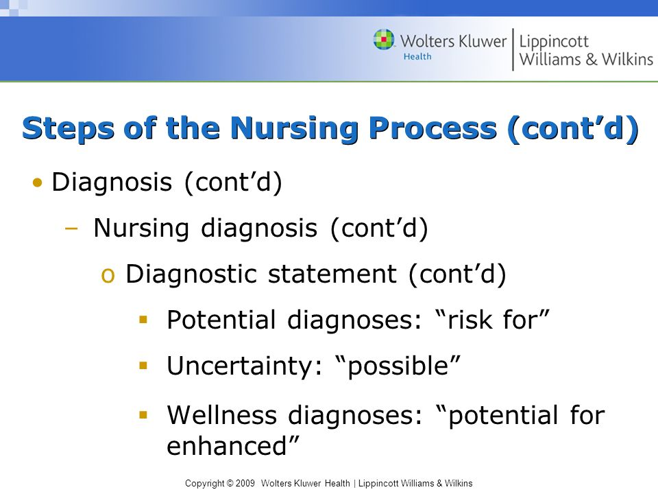 Copyright © 2009 Wolters Kluwer Health | Lippincott Williams & Wilkins Steps of the Nursing Process (cont'd) Diagnosis (cont'd) –Nursing diagnosis (cont'd) oDiagnostic statement (cont'd)  Potential diagnoses: risk for  Uncertainty: possible  Wellness diagnoses: potential for enhanced