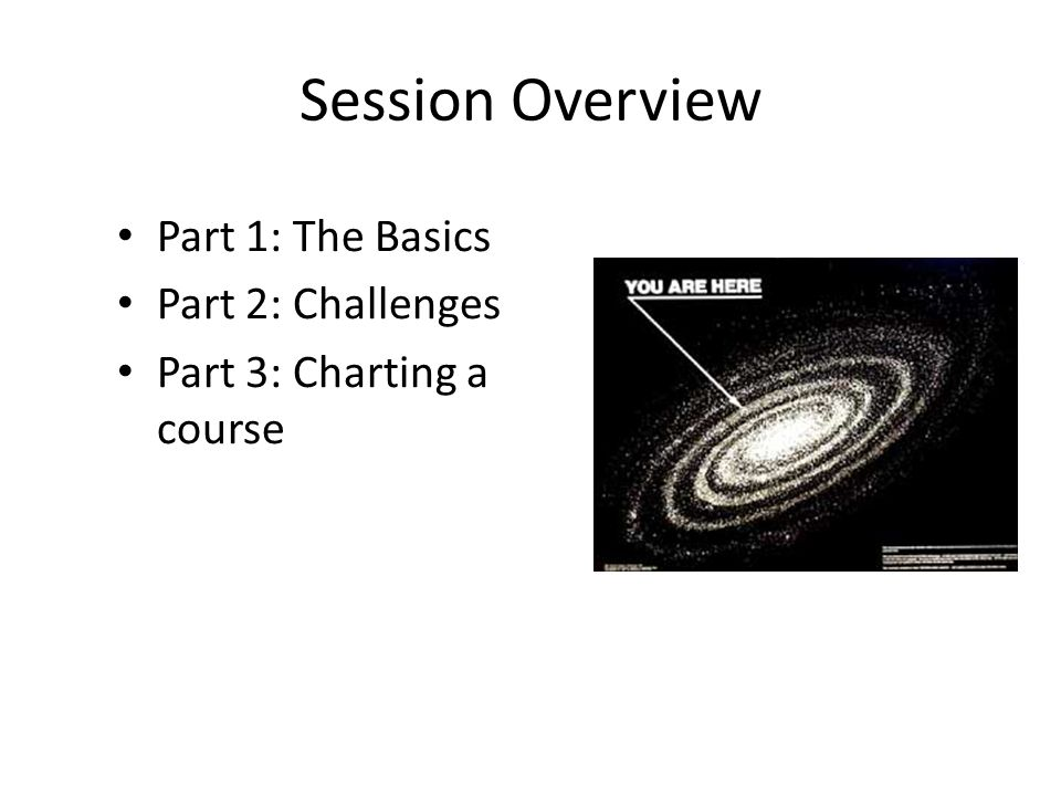 Session Overview Part 1: The Basics Part 2: Challenges Part 3: Charting a course